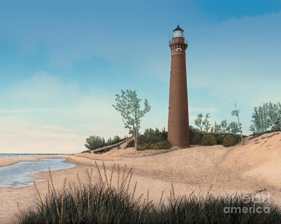 Lighthouse Drawing - Little Sable Point Lighthouse by Darren Kopecky