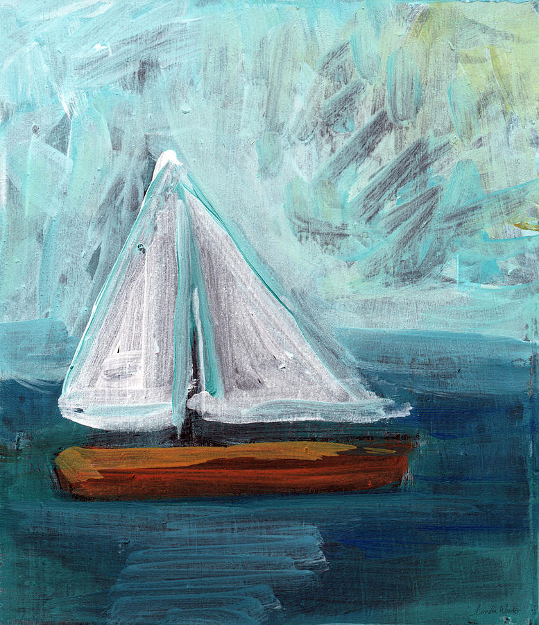 Boat Painting - Little Sailboat- Expressionist Painting by Linda Woods