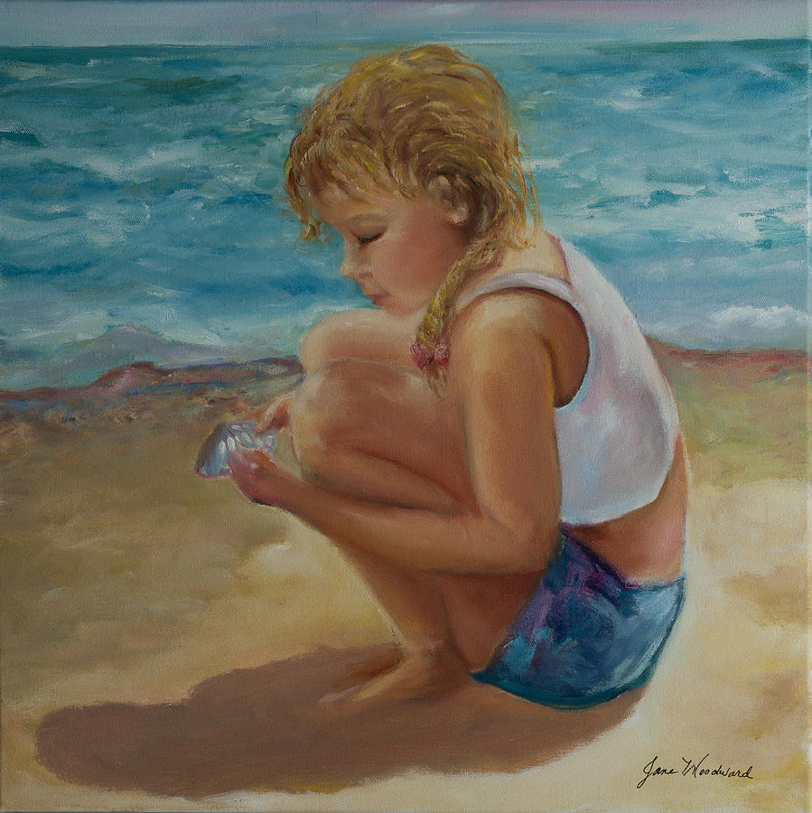 Jane Woodard Painting - Little Shell Collector by Jane Woodward