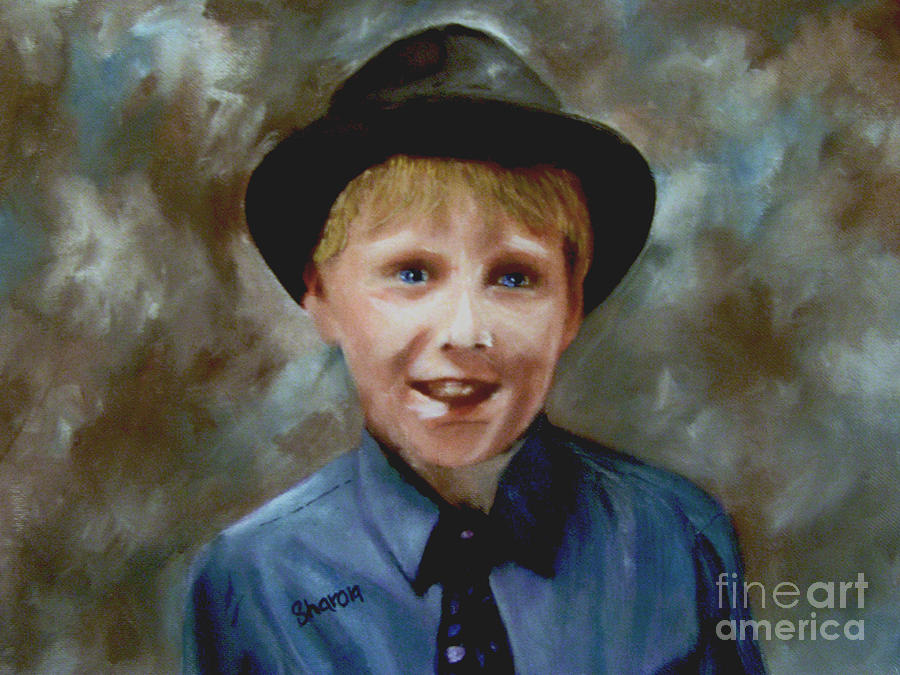 Boy Painting - Little Sinatra by Sharon Burger
