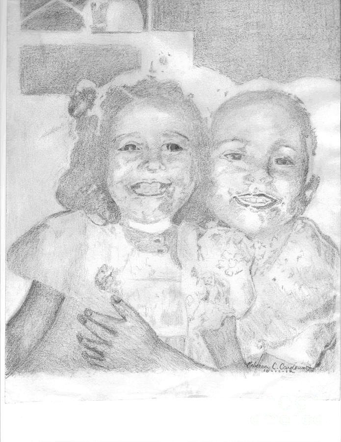 Sisters Drawing - Little Sister by Rebecca Christine Cardenas