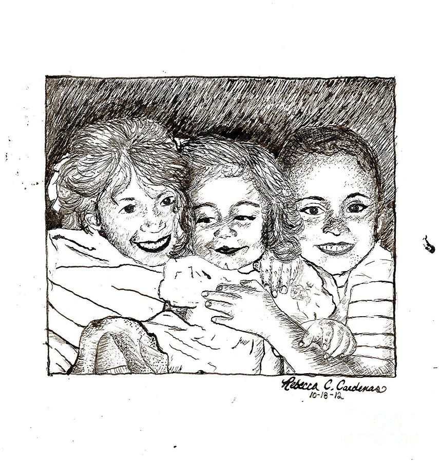Ink Drawing - Little Sisters by Rebecca Christine Cardenas