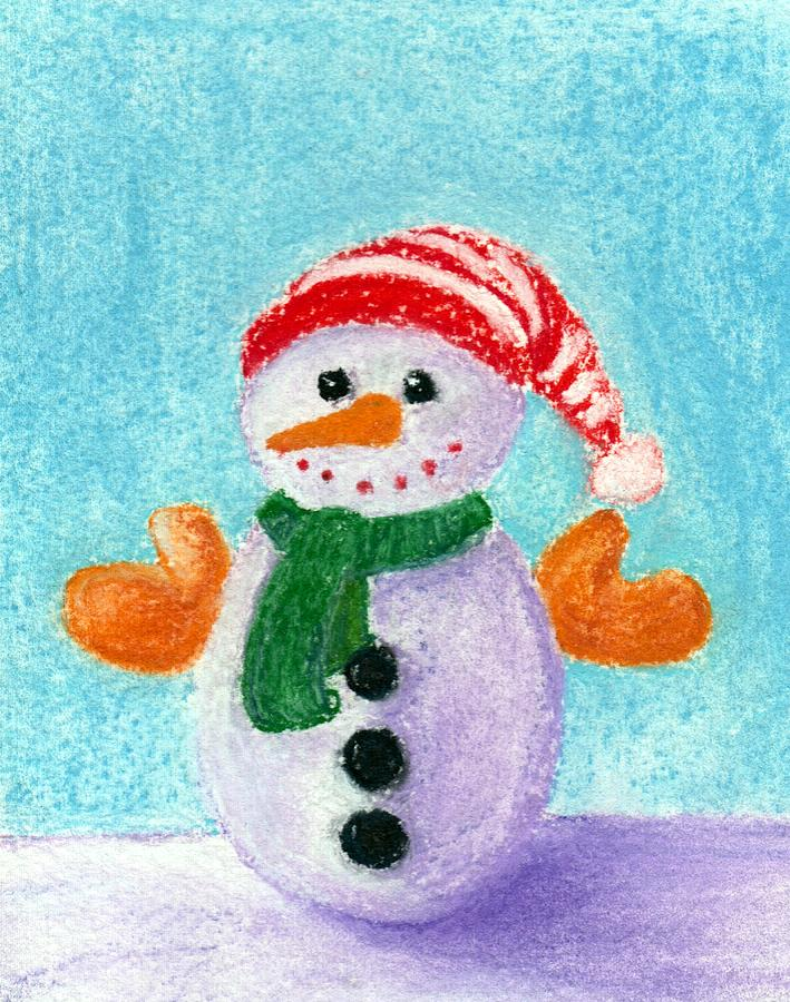 Decorative Painting - Little Snowman by Anastasiya Malakhova