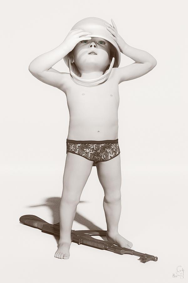 Child Digital Art - Little Soldier by Matt Lindley