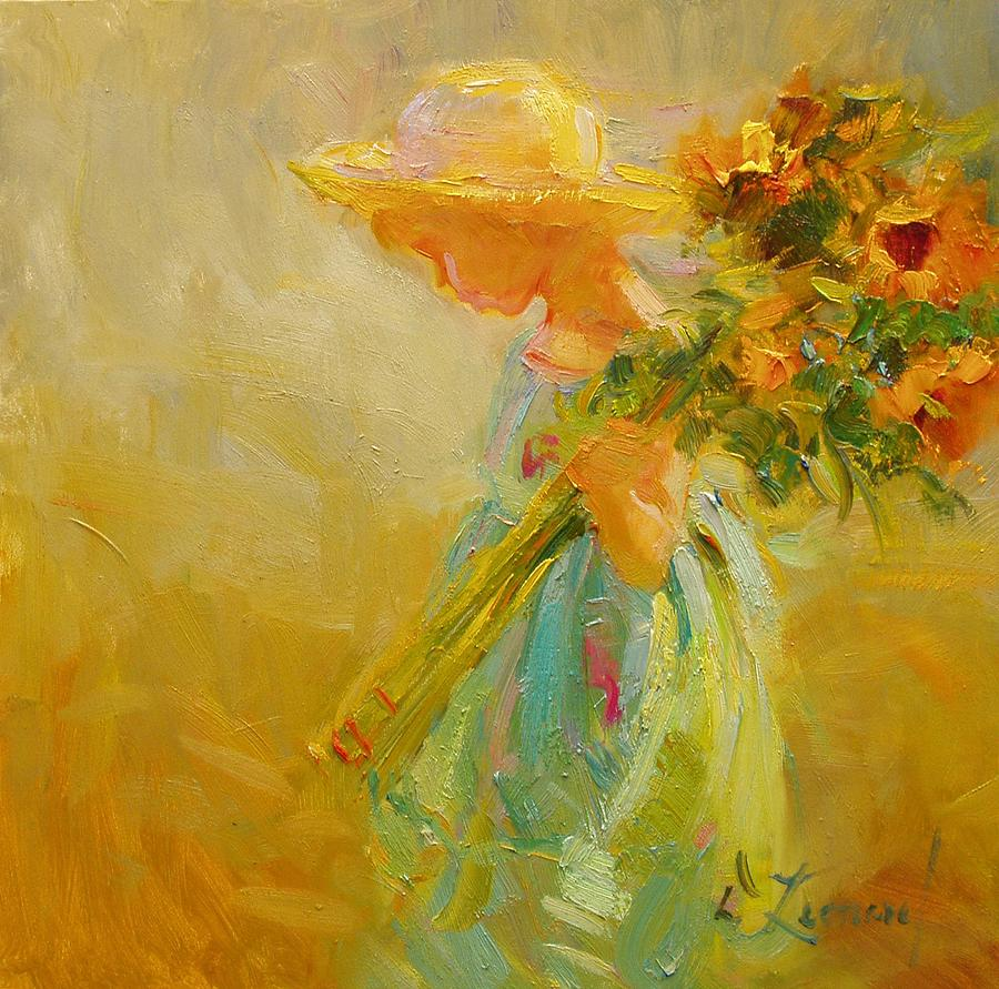 Impressionist Painting - Little Sunflowers by Diane Leonard