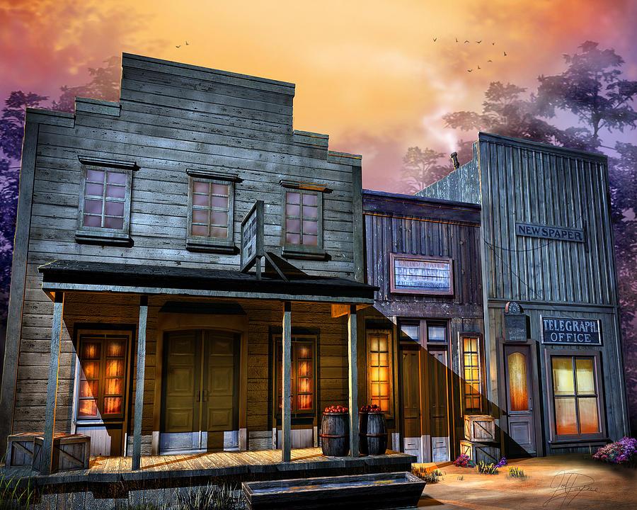 Western Digital Art - Little Town by Joel Payne