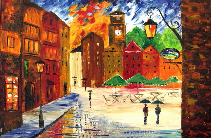 Landscape Painting - Little Town by Mariana Stauffer