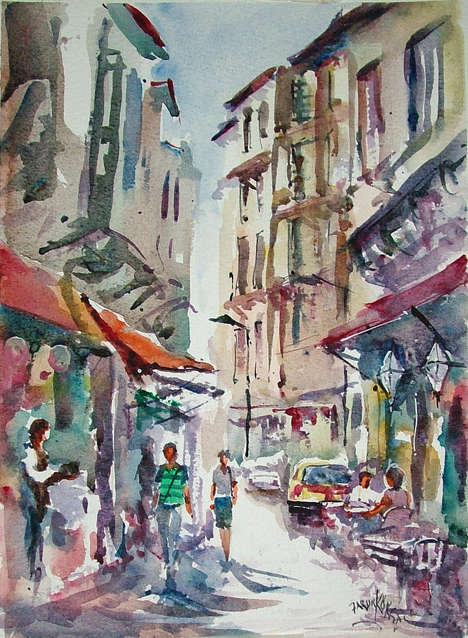 Little Trip At Exotic Streets In Istanbul Painting By