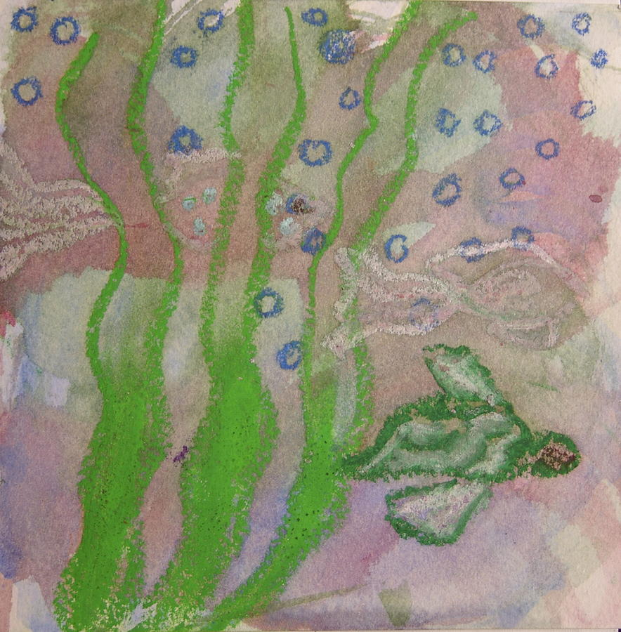 Sea Turtle Paintings Mixed Media - Little Turtle Finding His Way by Claudia Smaletz