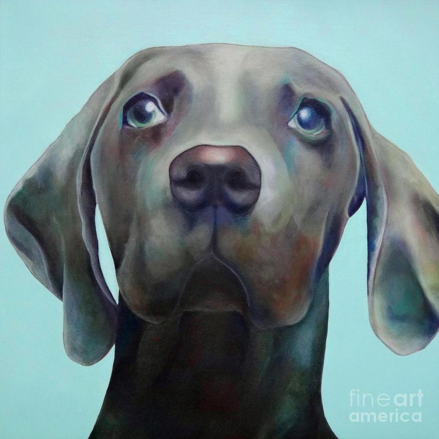 Pet Painting - Little Weimaraner Looking Up by Jennifer Gibson