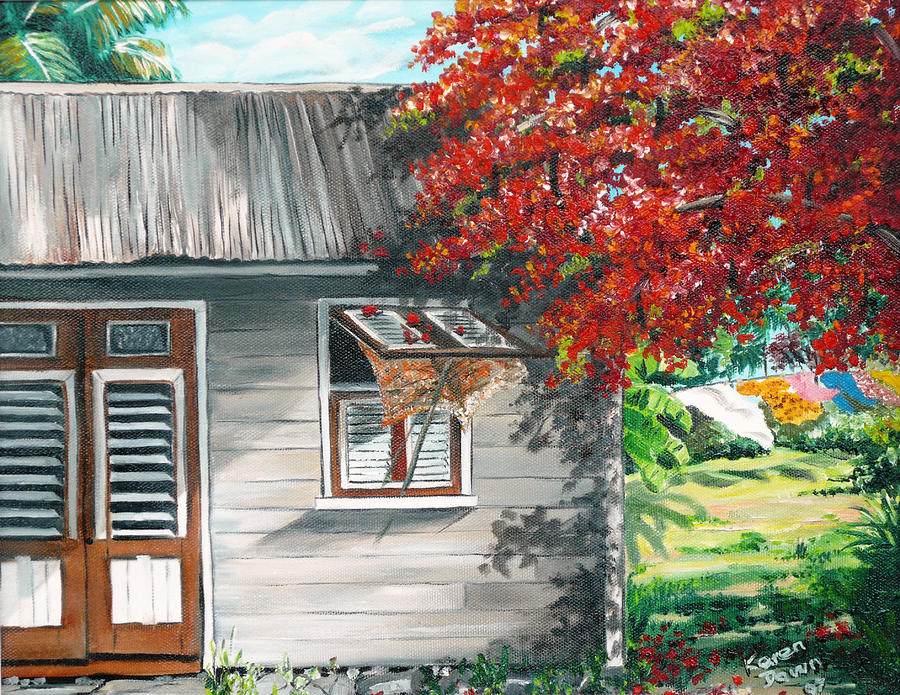 Little West Indian House 1 Painting by Karin  Dawn Kelshall- Best
