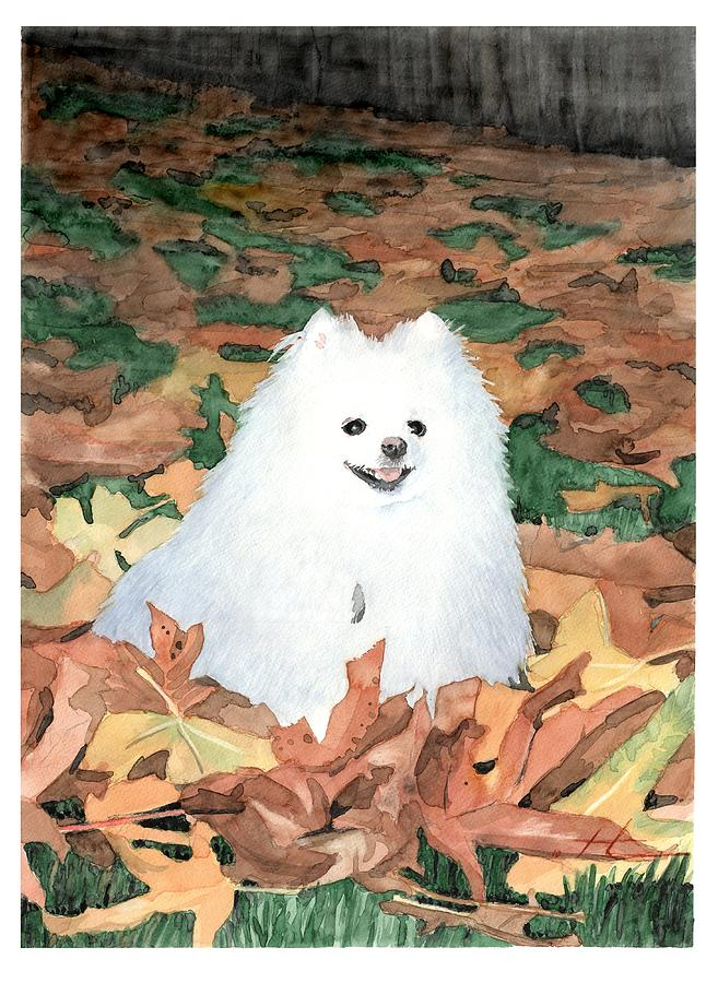 Little White Dog Watercolor Portrait Painting by Mike Theuer