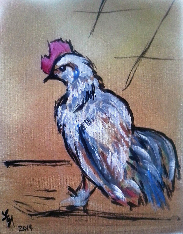 Rooster Painting - Little White Rooster by Loretta Nash