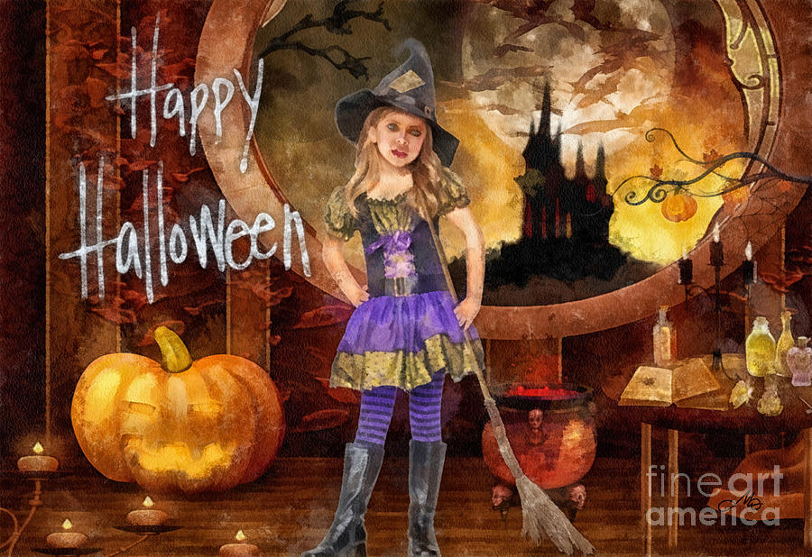 Halloween Painting - Little Witch by Mo T