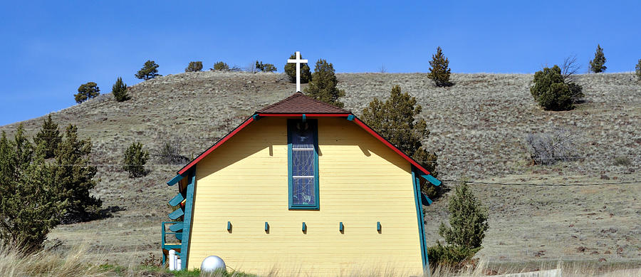 Church Photograph - Little Yellow Church by Heather L Wright