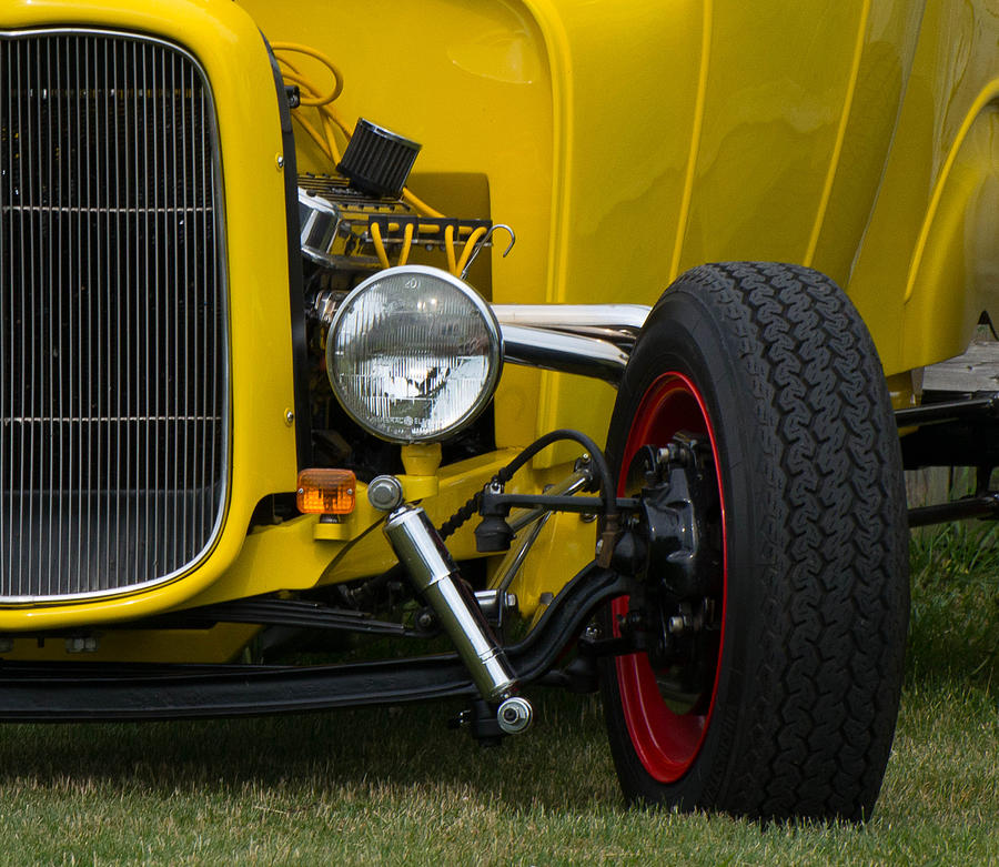 Hot Rod Photograph - Little Yellow Coupe In Flushing Michigan by Chris Spangler
