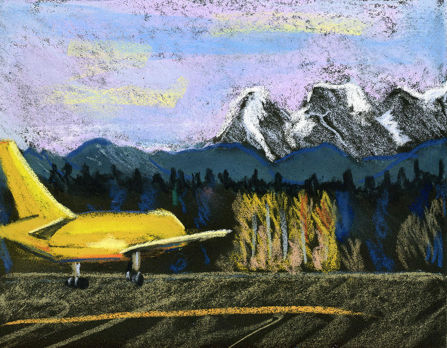 Airport Pastel - Little Yellow Plane by Lelia Sorokina