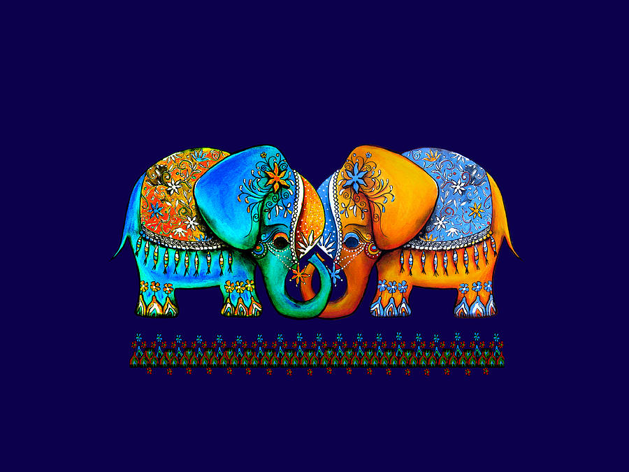 Anniversary Painting - Littlest Elephant Love Links by Karin Taylor