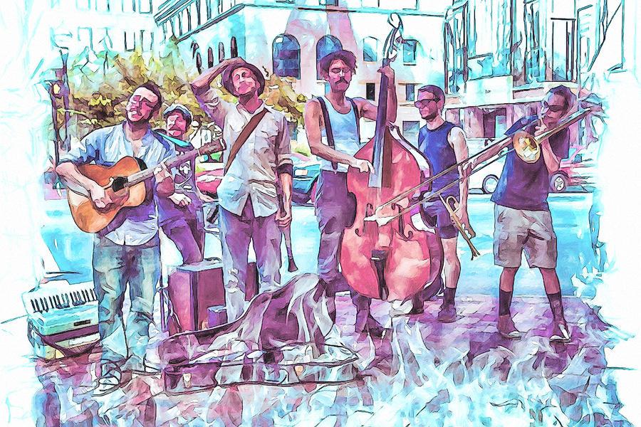 Buskers Photograph - Live Jazz In Asheville by John Haldane