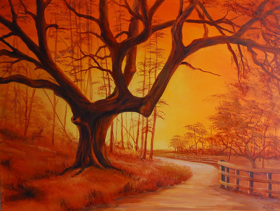 Landscape Painting - Live Oak At Sunset by Rich Kuhn