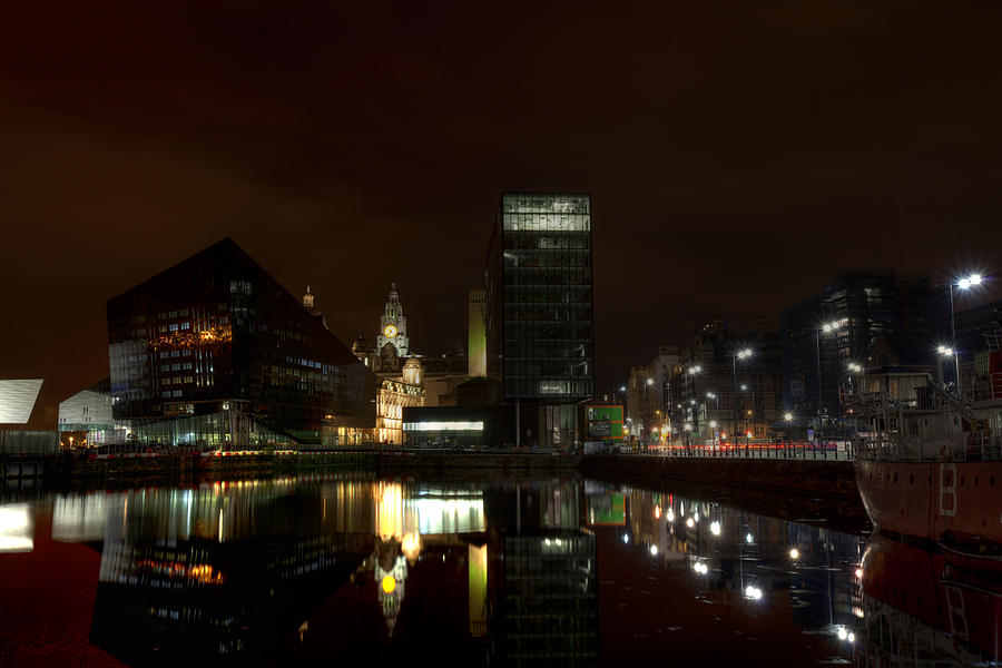 Liverpool Photograph - Liverpool Docks At Night by Beverly Cash