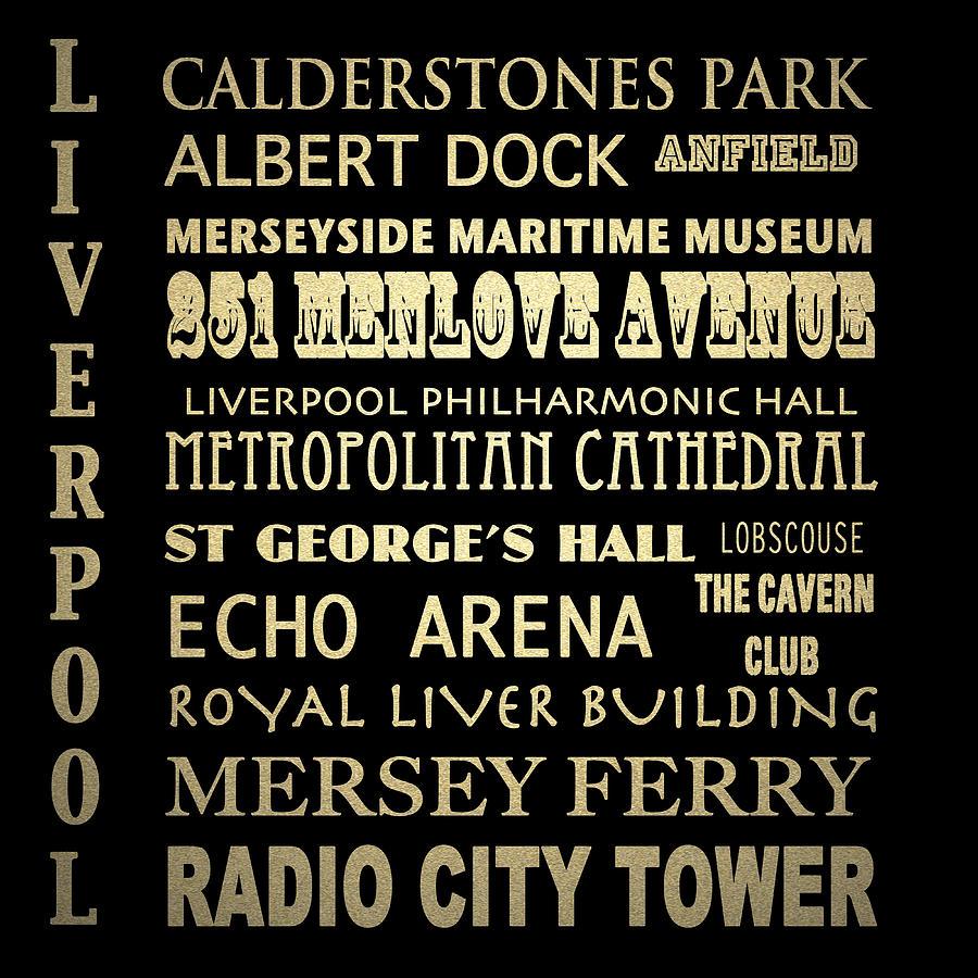 Liverpool Digital Art - Liverpool England Famous Landmarks by Patricia Lintner