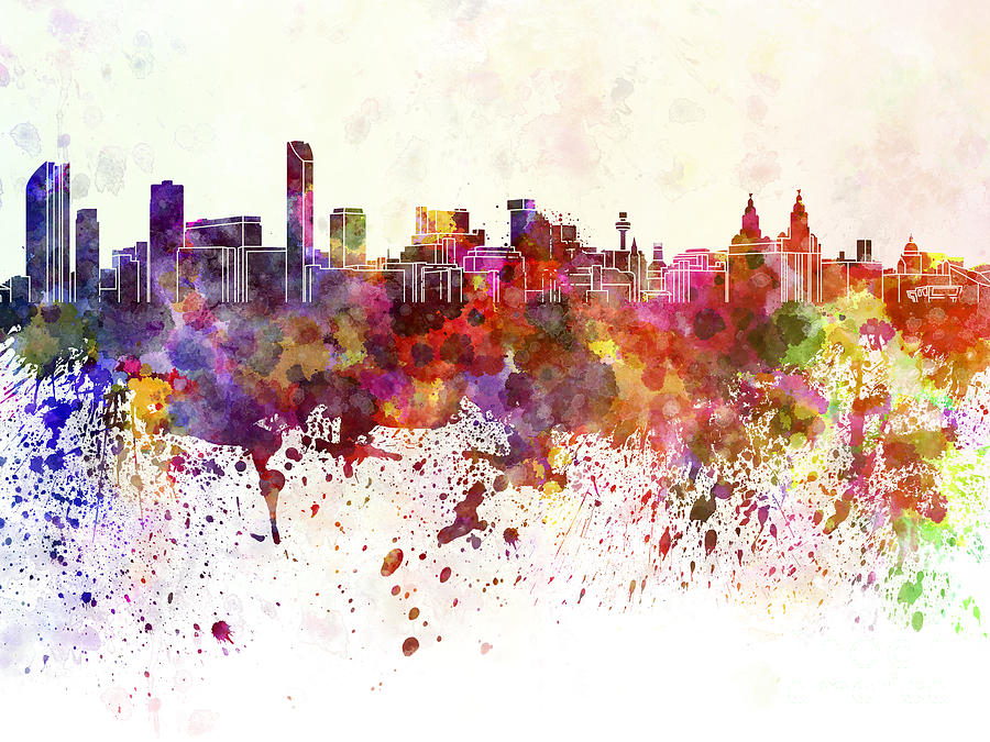 Liverpool Skyline In Watercolor Background Digital Art By