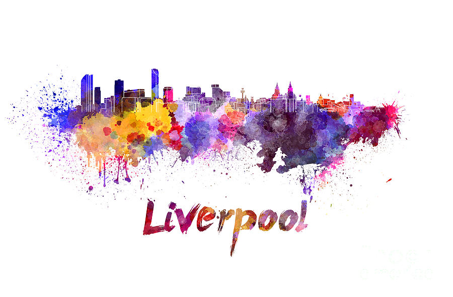 Liverpool Painting - Liverpool Skyline In Watercolor by Pablo Romero