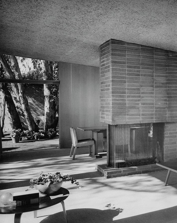 Living-dining Room By Carl Louis Maston Photograph by Julius Shulman