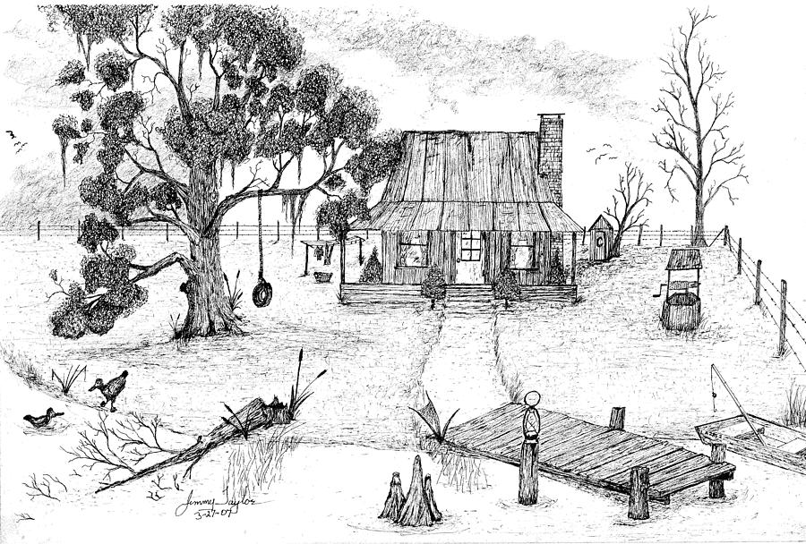 living on the bayou drawing by jimmy taylor