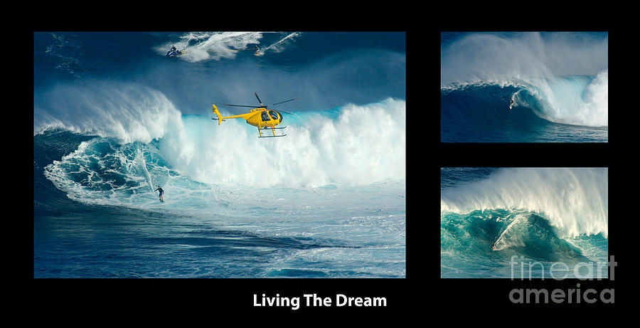 Surfing Photograph - Living The Dream With Caption by Bob Christopher