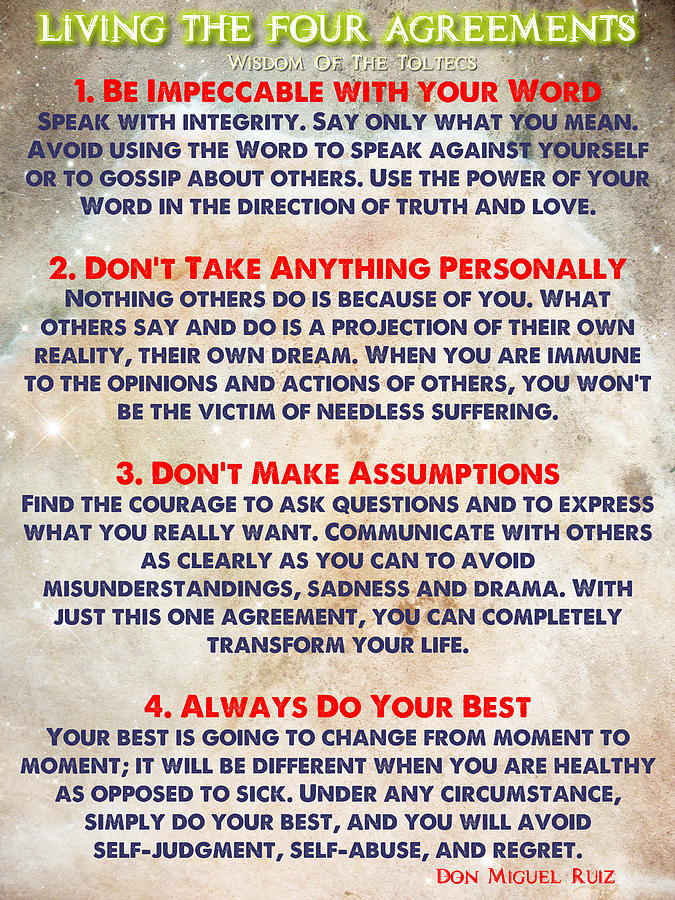 Living The Four Agreements Wisdom Of The Toltecs Painting By
