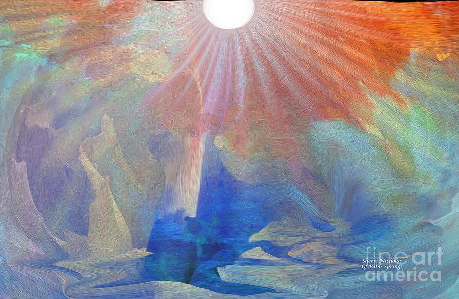 Peach Digital Art - Living Under The Umbrella Of Light by Sherris Of Palm Springs