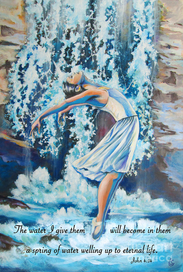 Water Painting - Living Water Scripture by Tamer and Cindy Elsharouni