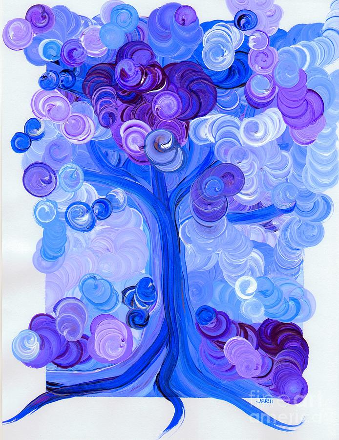 First Star Painting - Liz Dixons Tree Blue by First Star Art