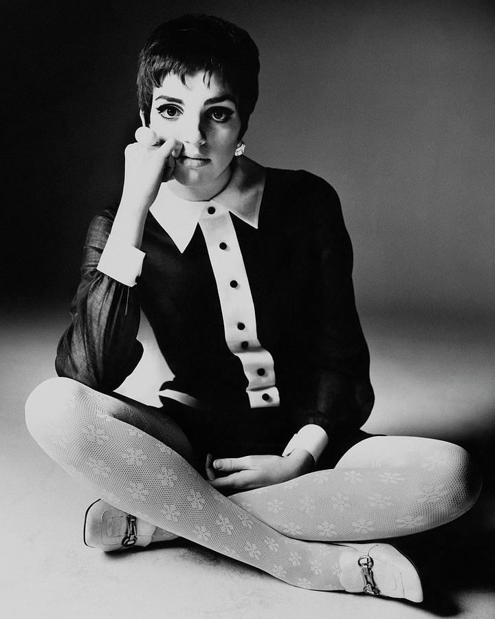 Personality Photograph - Liza Minnelli Wearing A Joan Arkin Dress by Bert Stern