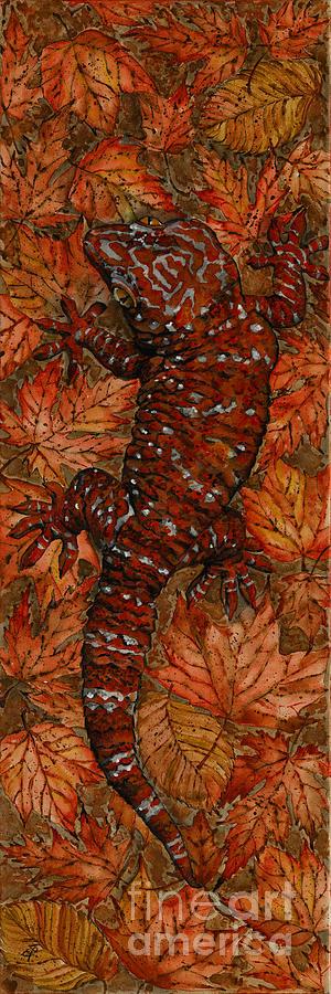 Lizard Painting - Lizard In Red Nature - Elena Yakubovich by Elena Yakubovich