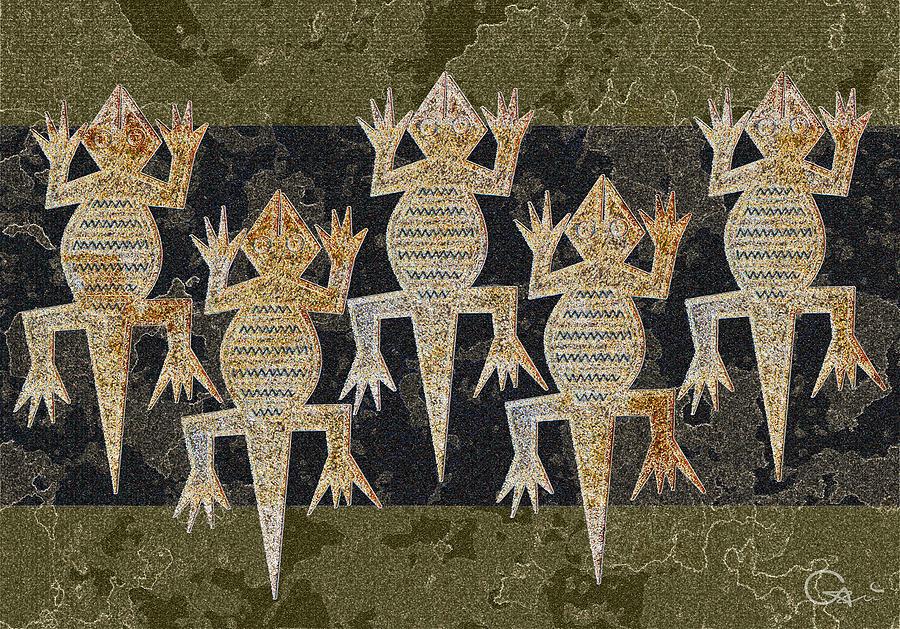 Lizard Digital Art - Lizards On The Wall by Sergey Khreschatov