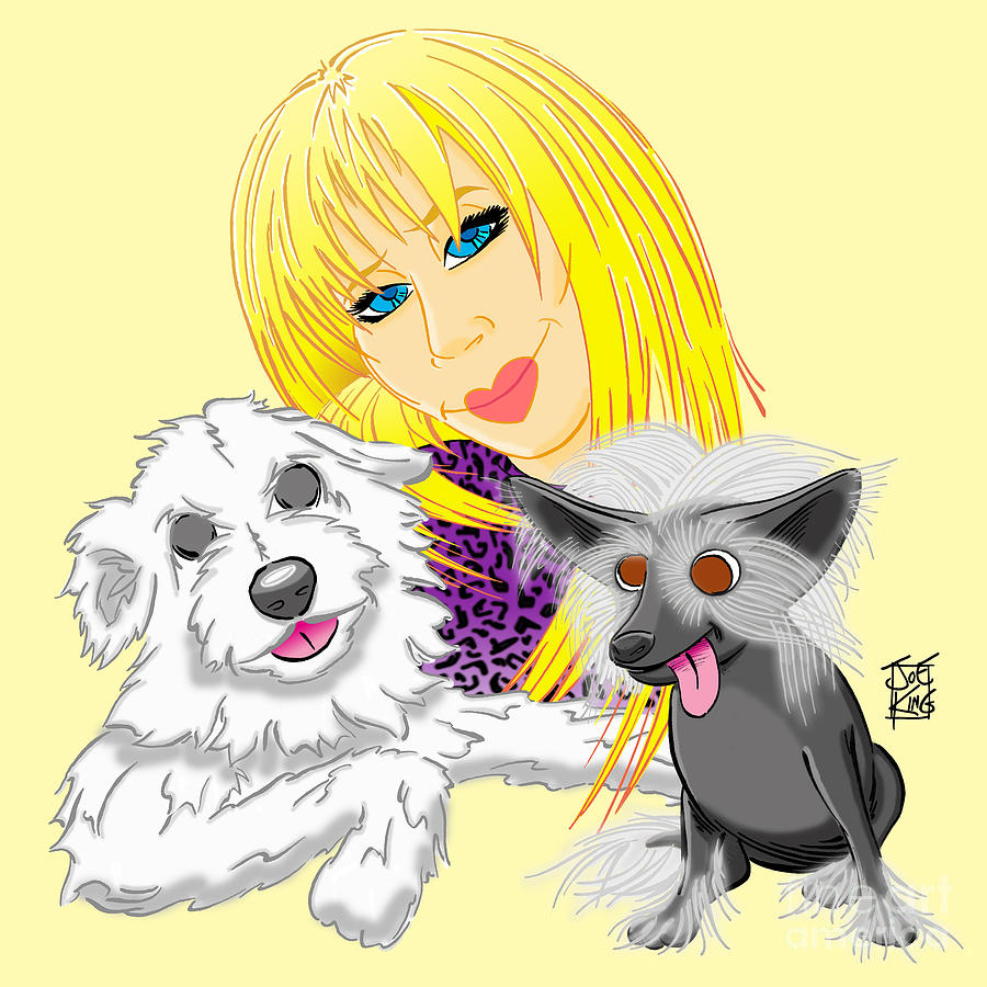 Family Digital Art - Lizzie And Dimey And Pinny by Joe King