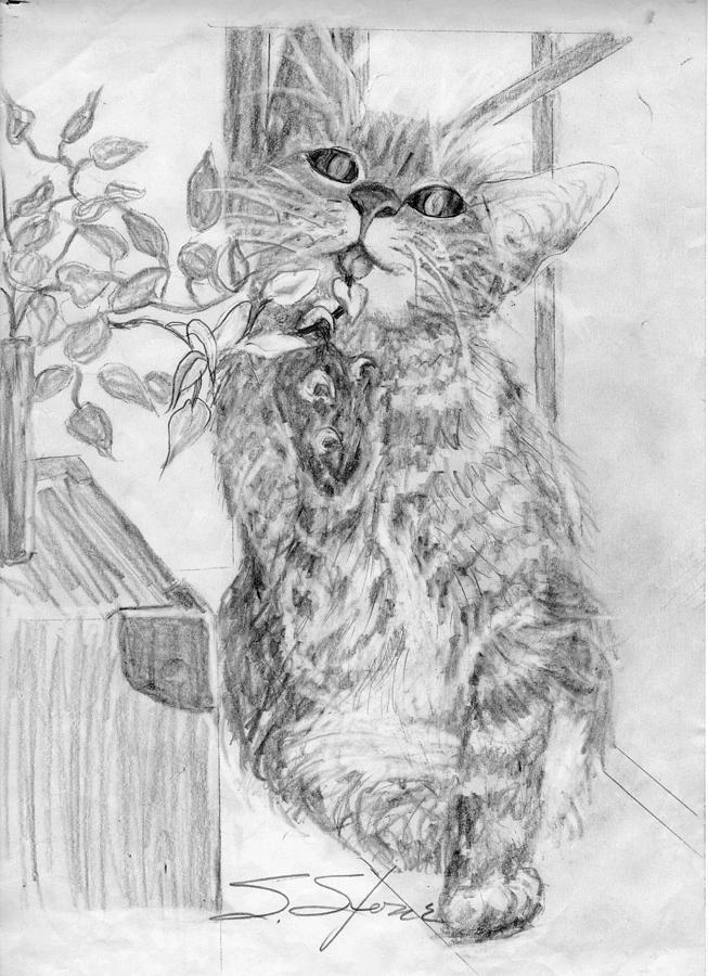 Animal Painting - Lizzy Having a Snack by Sandra Stone