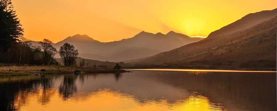 Dyffryn Photograph - Llynnau Mymbyr Snowdon In The Distance  by Regie Marshall