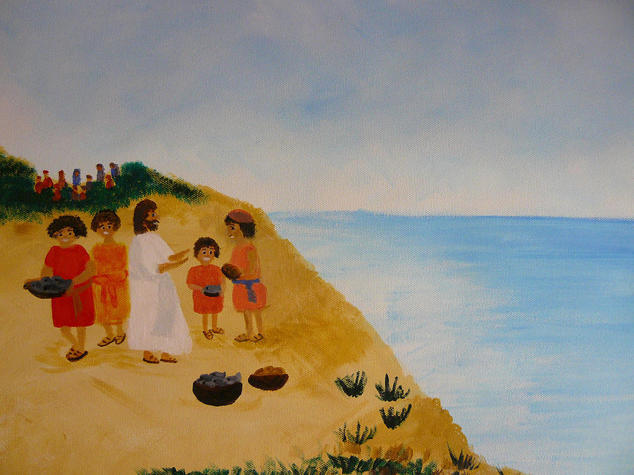 Bible Stories Painting - loaves And Fishes by Barbara Unruh