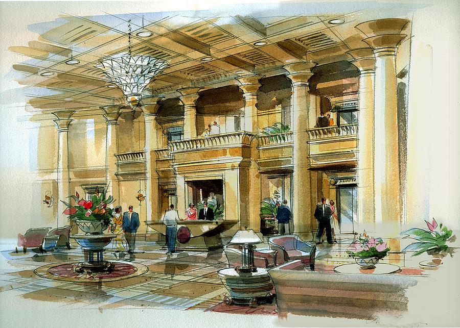 Lobby Concept Atlanta Painting by Jack Adams