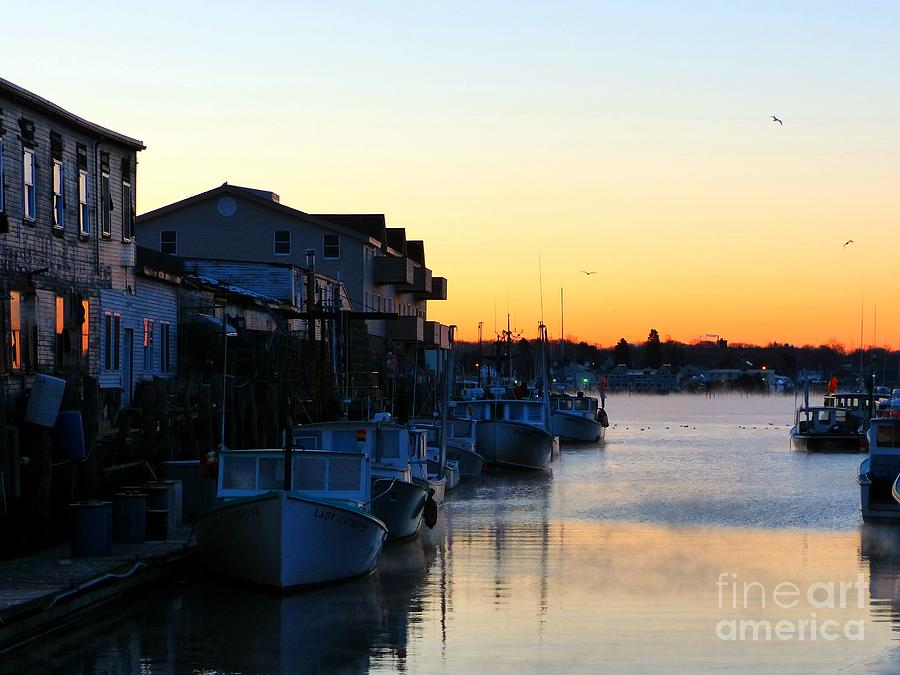 Lobster Photograph - Lobster Boat Wharf Sunrise by Christine Stack