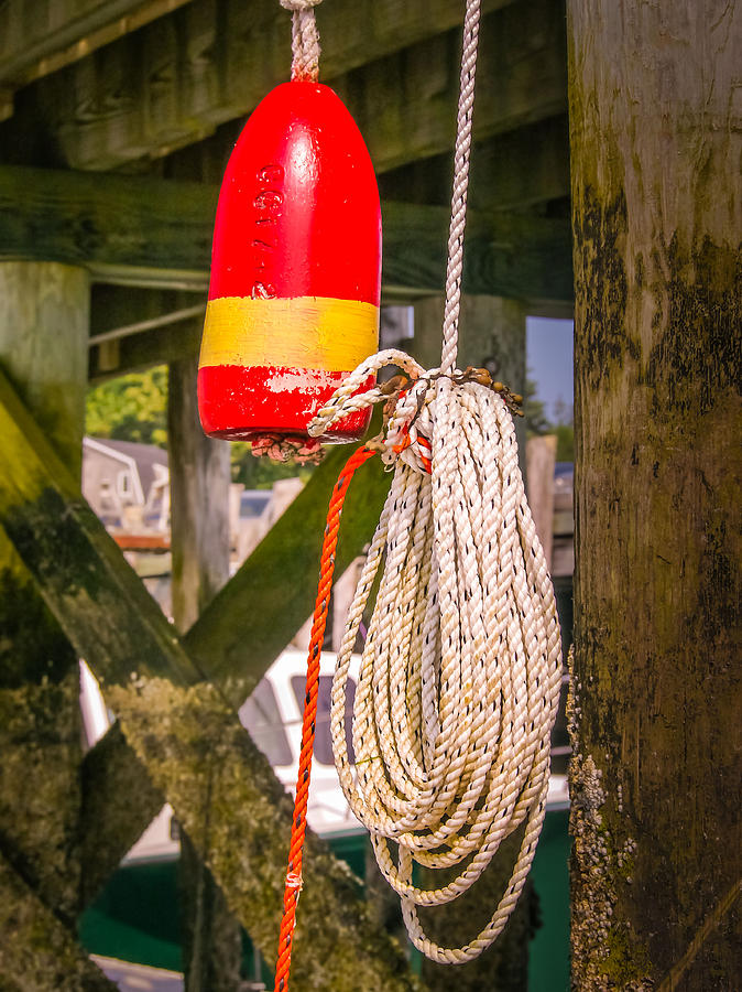 Lobster Buoy Photograph - Lobster Buoy Under Pier by Ernest Puglisi