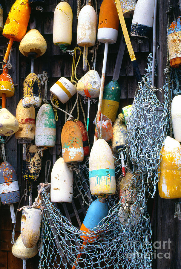 Lobster Buoys Photograph - Lobster Buoys Fishermans Shed by Thomas R Fletcher