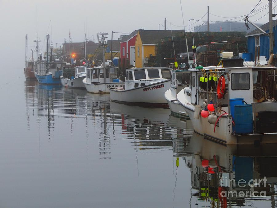 Lobster Row in Fog by Christine Stack