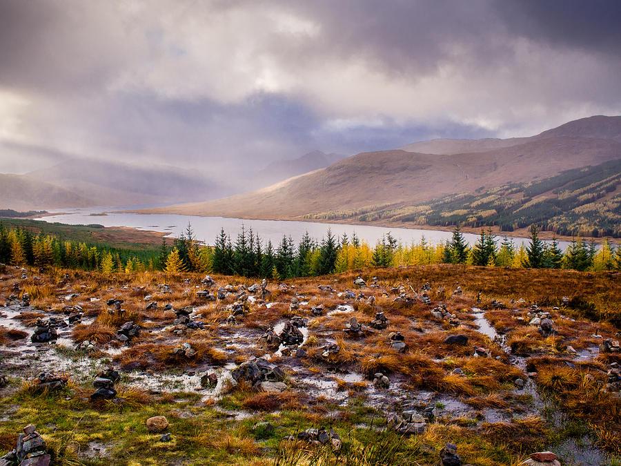Autumn Photograph - Loch Loyne Cairns by Mark Llewellyn
