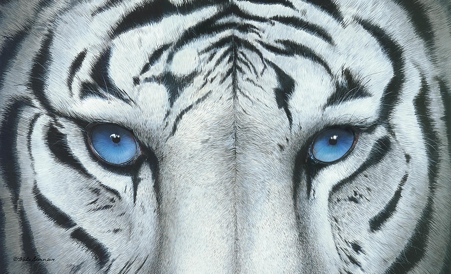 White Tiger Painting - Locked In by Mike Brown