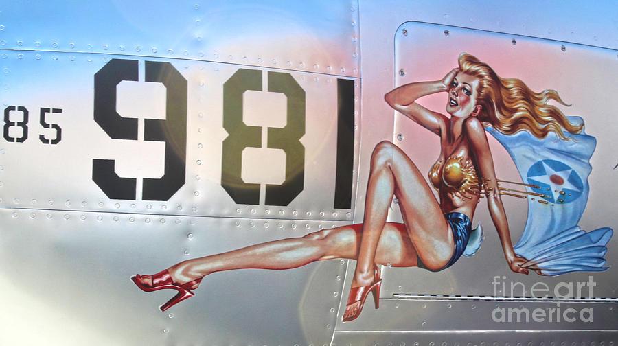 Lockheed P-38l Lightning Honey Bunny Photograph - Lockheed P-38l Lightning Honey Bunny Nose Art - 02 by Gregory Dyer